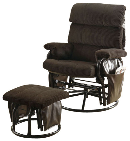 Chocolate Corduroy Pu Swivel Rocker Recliner With Ottoman