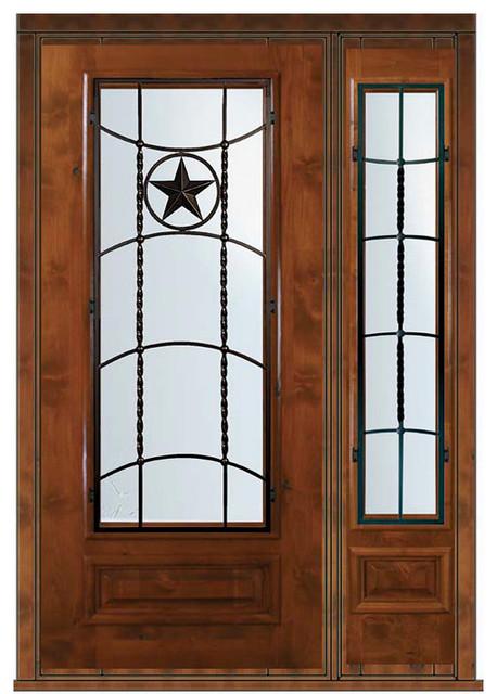 Pre Hung Sidelite Door 80 Wood Alder Texan Texas Star 3 4 Lite Eclectic Front Doors Tampa