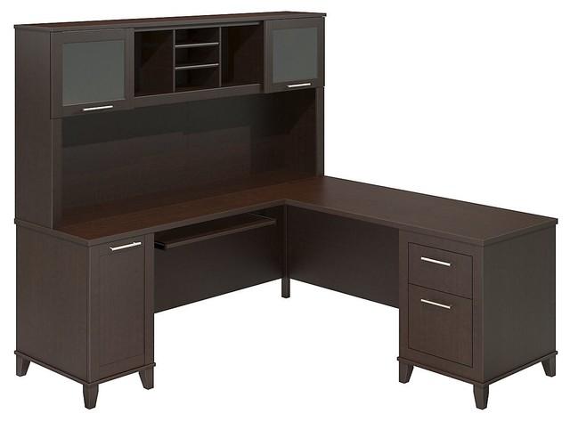 Bush Furniture Somerset 71 Inch Mocha Cherry L Desk With
