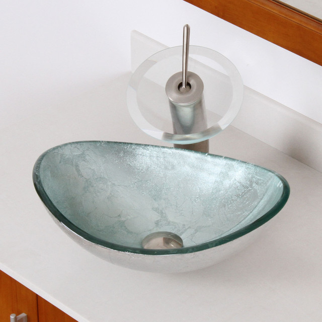 Elite Bathroom Sinks : ... Silver Tempered Glass Bathroom Vessel Sink contemporary-bathroom-sinks