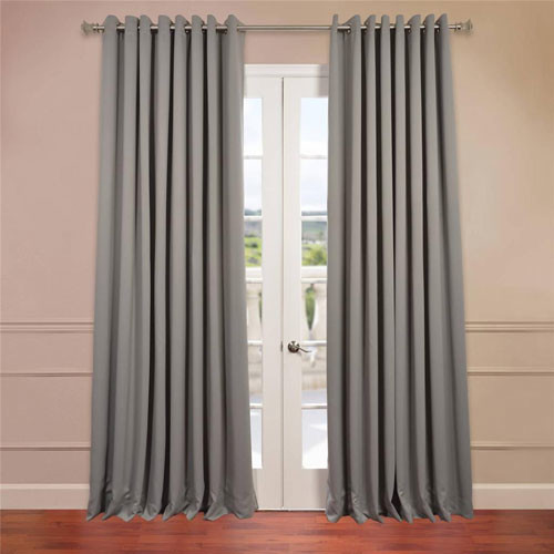 grey 120 x 100 inch double wide grommet blackout curtain