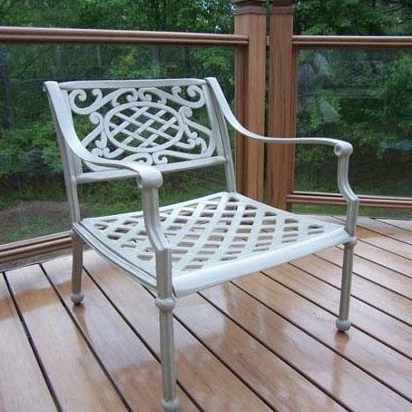 oakland living tacoma cast aluminum patio dining arm chair beach sand modern garden dining. Black Bedroom Furniture Sets. Home Design Ideas