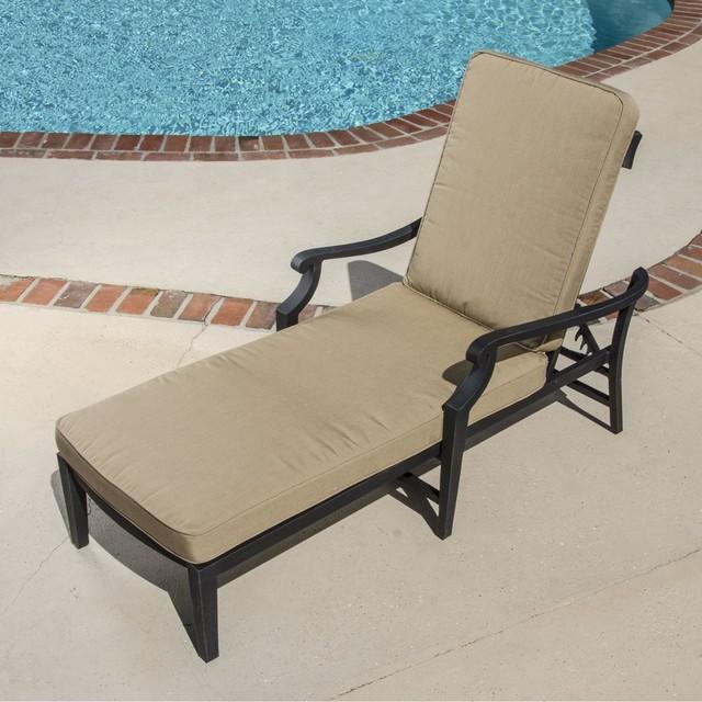 St charles cast aluminum patio chaise lounge modern for Aluminum chaise lounge outdoor