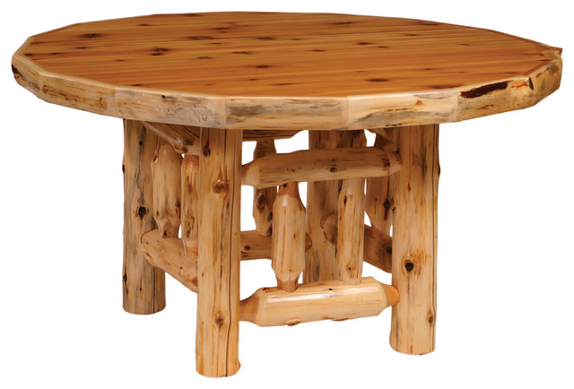 Cedar Round Log Dining Table With Liquid Glass Finish 48  : rustic dining tables from www.houzz.com.au size 640 x 434 jpeg 62kB