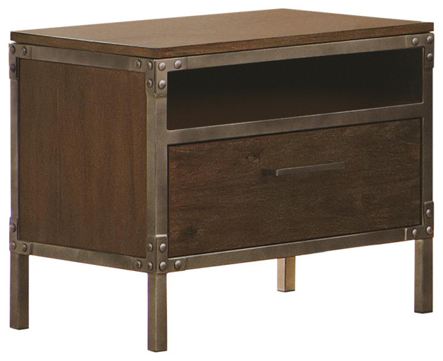 Industrial night stand with pewter coated metal accents for Metal night stands bedroom