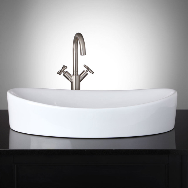 Modern Vessel Sinks : Catalina Oval Vessel Sink - Modern - Bathroom Sinks - by Signature ...