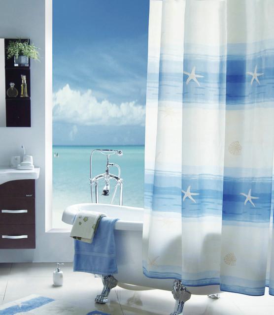 Beach Scenery Shower Curtain Mediterranean Shower Curtains By Sinofaucet
