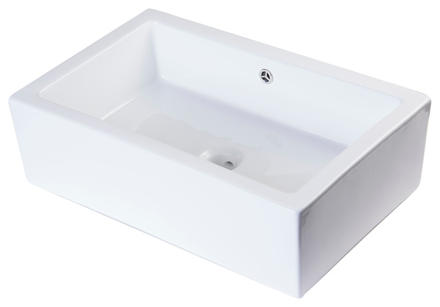 Ceramic Farmhouse Sink : ... White Rectangular Farmhouse Apron Front Ceramic Bathroom Sink Basin