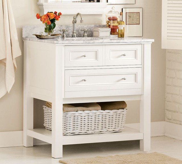 Classic single sink console white traditional bathroom vanities and sink consoles by for Single sink consoles bathroom