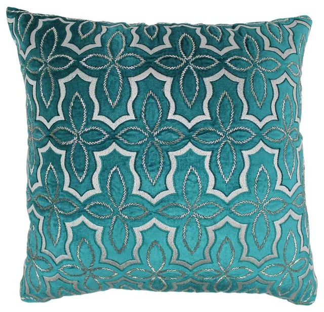 Modern Silver Pillows : Moroccan Patterned Throw Pillow in Teal and Silver - Contemporary - Decorative Pillows - by ...