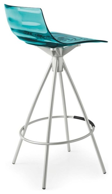 L Eau Counter Stool Transparent Aquamarine Non Swiveling
