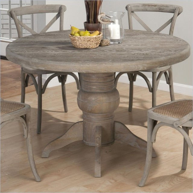 Jofran Round Solid Oak Dining Table in Burnt Grey Farmhouse Other by Cymax