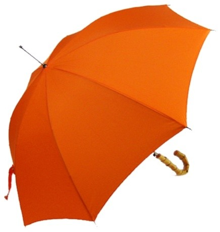 Solid Orange Umbrella With A Bamboo Hook Handle Modern