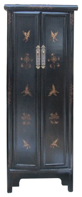 Chinese Black Golden Butterflies Tall Narrow Cabinet ...