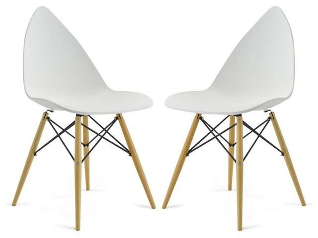 Lot de 2 chaises design clover couleur blanc scandinavian dining chairs - Chaises design couleur ...
