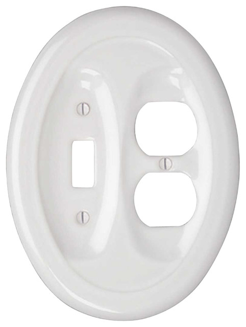Switchplates White Porcelain Recessed Oval Toggle Outlet - Traditional - Switch Plates And ...