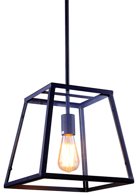 Small Retro Industrial Pendant Light with Metal Framed Glass Box - Industrial - Pendant Lighting