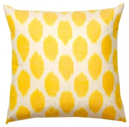 Yellow Silk Decorative Pillows : Yellow Spotted Silk Pillow - Contemporary - Decorative Pillows - by Furbish Studio