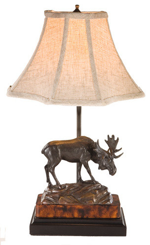 Moose On Rock Lamp Rustic Table Lamps By Lodgeandcabins