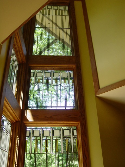 A kaleidoscope of light the stair hall eclectic for Prairie style window