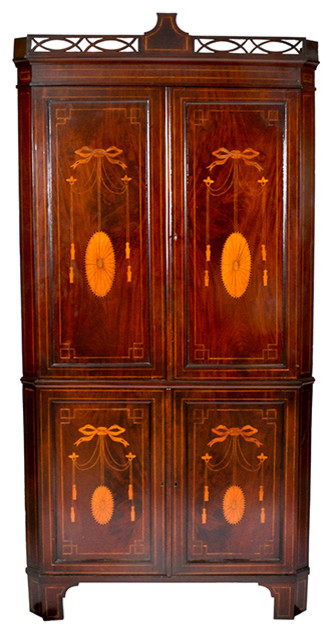Consigned 1860's Hepplewhite Mahogany Corner Cabinet - Traditional - China Cabinets And Hutches ...