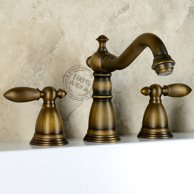 Http Www Houzz Com Photos 9917588 Antique Brass Widespread Two Handles Bathroom Sink Faucet Kz 333q Traditional Bathroom Sink Faucets Other Metro
