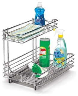 Under sink sliding organizer chrome finish contemporary - Organiser sa maison rangement ...