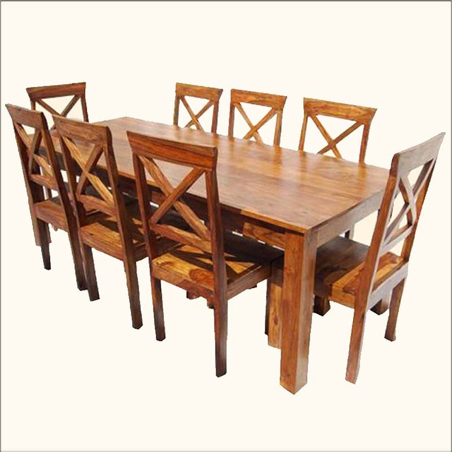 Oklahoma farmhouse contemporary 9pc oak dining table for Contemporary oak dining chairs