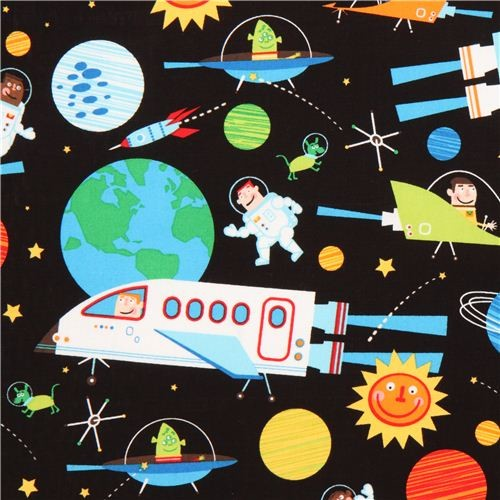Black galaxy fabric space shuttle robert kaufman fabric for Space shuttle fabric
