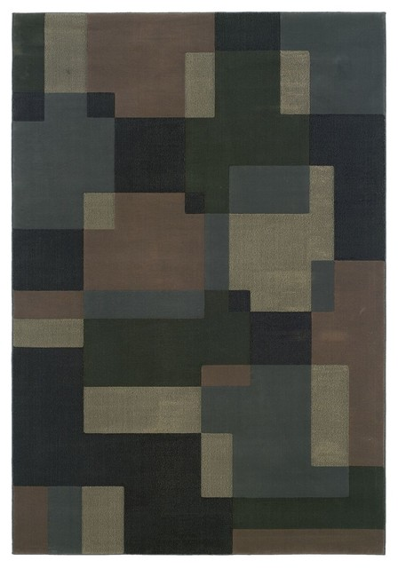 Contemporary genre hallway runner 2 39 3 x7 39 9 runner blue for Contemporary runner rugs for hallway