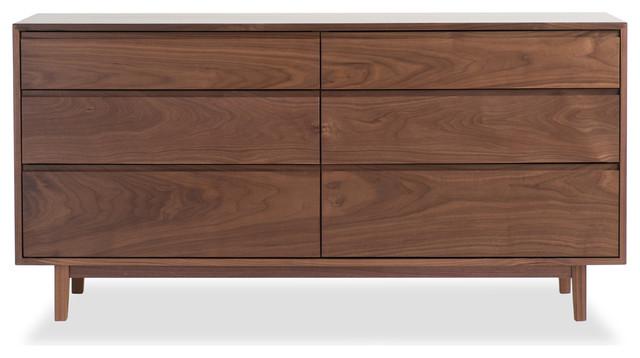 dresser solid walnut six drawer bedroom dresser modern furniture