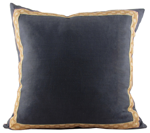 Navy Linen with Jute-on-Cotton Hanmpton Trim Throw Pillow - Contemporary - Scatter Cushions - by ...