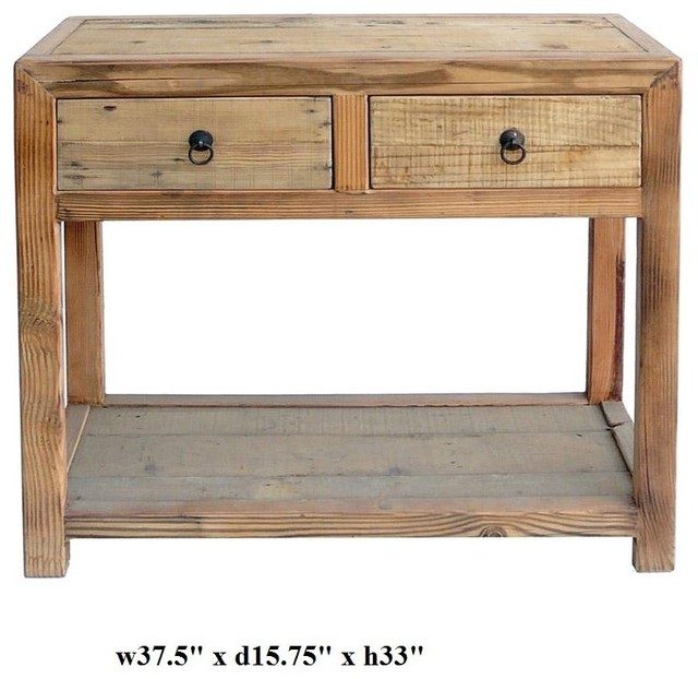 Chinese Raw Wood Plain 2 Drawers Side Table Tropical