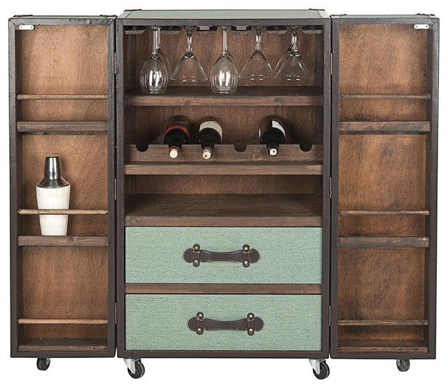 Steamer Trunk Bar Cabinet in Sage - Traditional - Accent Chests And ...