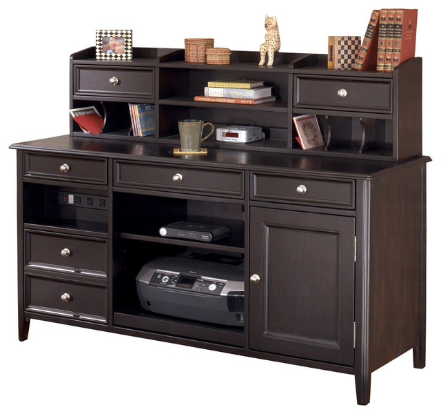 carlyle home office large credenza short desk hutch almost black