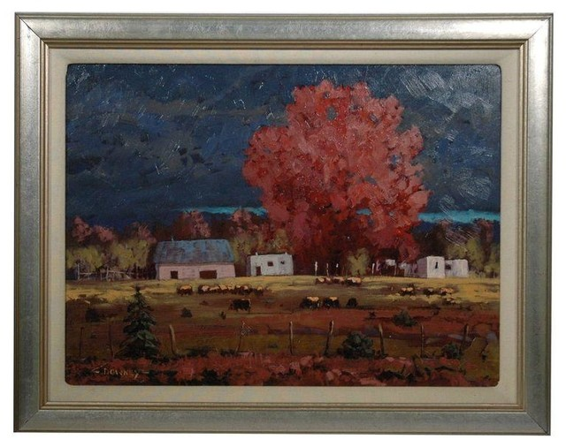 Pre Owned Fall Maple Oil Painting By Dennis Downey Traditional Wall Decor By Chairish