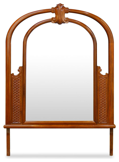 Rosewood french design mirror natural asian wall for Asian furniture westmont il