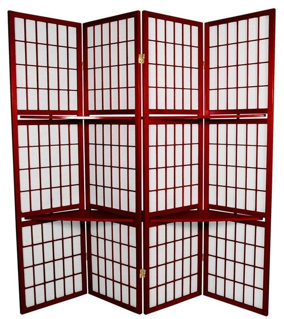 6 Ft Tall Window Pane With Shelf Room Divider Rosewood Contemporary Scr