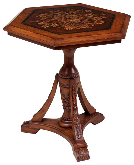 Traditional Hardwood Lamp Table w Floral Desi
