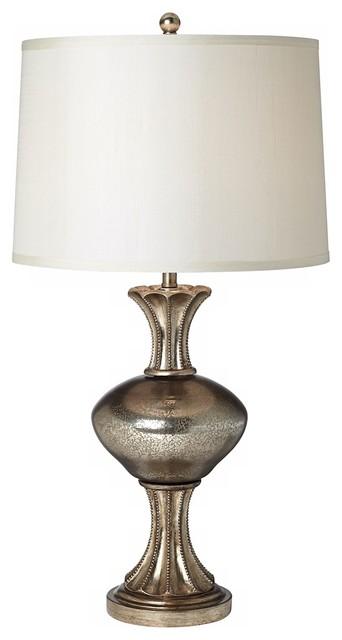 Elderflower mercury glass silver modern classic large table lamp - Kathy Ireland Reflections Mercury Glass Table Lamp