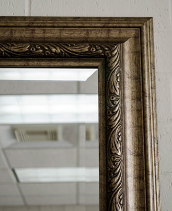 Gold silver rustic framed mirror victorian austin by mirrorlot for Silver framed bathroom mirrors