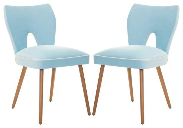 safavieh retro blue velvet blend side chair modern