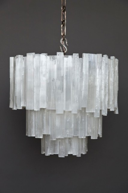 Three Tier Selenite Chandelier Contemporary Chandeliers By Ron Dier Design