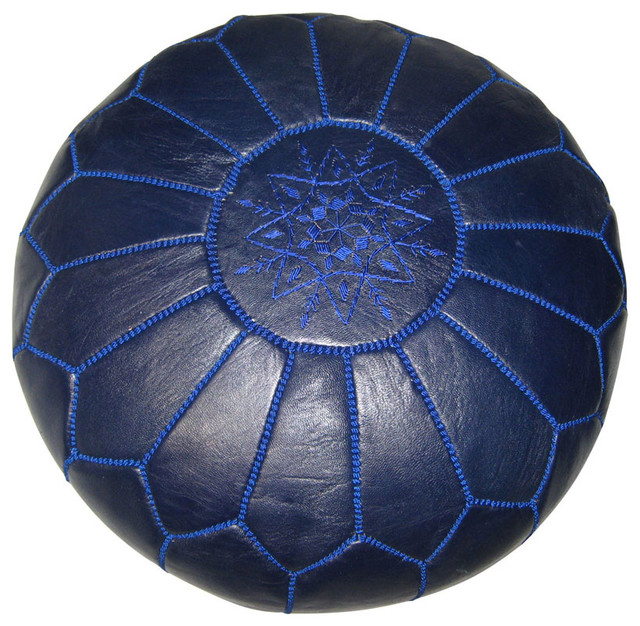 Floor Pillows Navy : Moroccan Pouf - Navy Blue Leather - Modern - Floor Pillows And Poufs - by Rosenberry Rooms