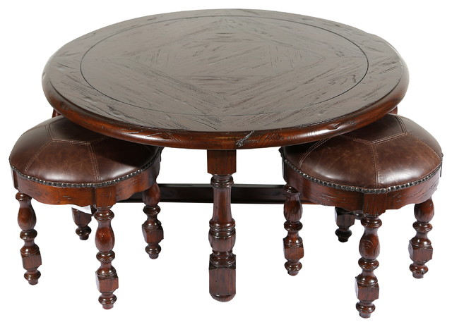 Burgundy Round Coffee Table Set Traditional Coffee Table Sets By Jwlc Imports Inc