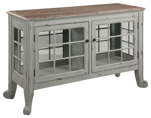 """Cottage"" Seafoam Curio Console - Farmhouse - Accent Chests And Cabinets - by Gail's Accents"