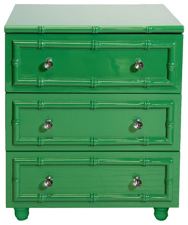 Worlds Away Green Lacquer Bamboo 3-Drawer Nightstand