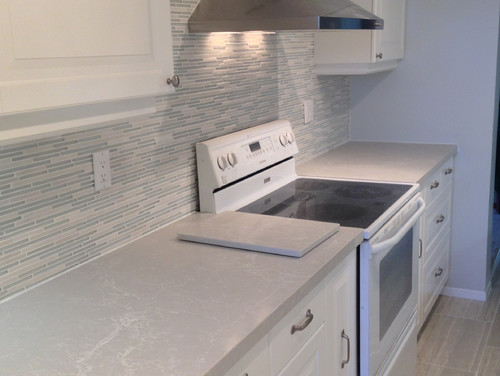 Dark Grey Subway Tile Backsplash Caesarstone Alpine Mist Quartz Kitchen Countertop