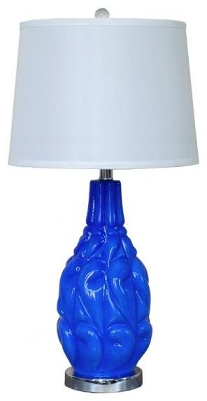 blue glass vase base bell shade indoor table lamp modern table lamps. Black Bedroom Furniture Sets. Home Design Ideas