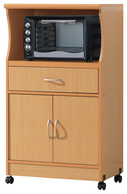 Microwave Cart, Beech - Contemporary - Kitchen Cabinetry - by Hodedah ...